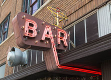 Vintage Neon Bar Sign Stock Photos