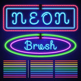 Vintage neon electric stroke custom pattern brushes, casino and xmas light border Stock Photography