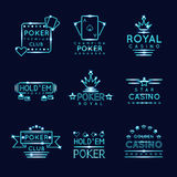Vintage neon hipster poker club and casino signs Stock Photography