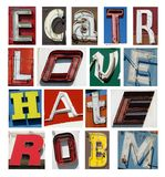 Vintage neon letters collection Stock Image