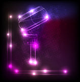 Vintage neon microphone Stock Photos