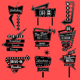 Vintage neon sign black and white Royalty Free Stock Photos