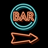 Vintage neon sign with an indication of the bar Stock Image
