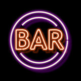 Vintage neon sign with an indication of the bar Royalty Free Stock Images