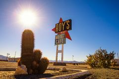 Vintage neon sign of Roy`s motel and cafe on Route 66. Amboy, California, USA - December 27, 2017 :  Vintage neon sign of Roy`s motel and cafe on historic Route Stock Photography