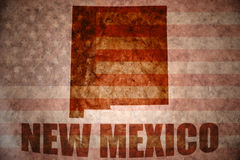 Vintage new mexico map. New mexico map on a vintage american flag background Stock Photo