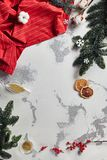 Vintage New Year Background with Christmas Decorations Top View. Vintage New Year Background Decorated with Spruce Branches, Traditional Winter Spices, Herbs and stock images