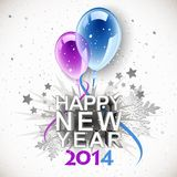 Vintage New Year 2014. With balloons vector illustration