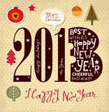 Vintage New Year card. With happy New Year lettering Stock Image