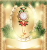Vintage New Year  card with  Christmas  clock toys and Christmas trees Royalty Free Stock Photos