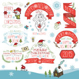 Vintage New Year,Christmas Calligraphic badges Royalty Free Stock Images