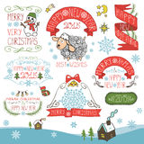Vintage New Year,Christmas Calligraphic badges set Stock Photography