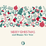 Vintage New Year and Christmas Card. Christmas icons. Typography.  Royalty Free Stock Photos