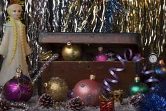 Vintage new year decoration background. Royalty Free Stock Photo