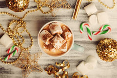 Vintage New Year food background Stock Photos