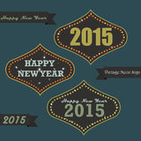 Vintage New year on Neon sign board. Set of vintage happy new year greeting messages on neon sign board Stock Photos