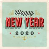 Vintage 2020 New Year`s Eve greeting card. Vector EPS 10. Grunge effects can be easily removed for a clean, brand new sign. For your print and web messages Royalty Free Stock Image