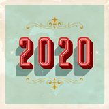 Vintage 2020 New Year`s Eve greeting card. Stock Image