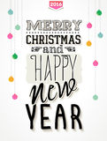 Vintage new year vector illustration. Vintage vector illustration, Merry Christmas and happy new year  typography Stock Photos