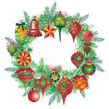 Vintage New Year wreath with branch fir and Christmas balls isolated on white background Stock Images