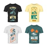 Vintage New York bikers club vector logo t-shirt mock up set. Stock Photography