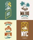 Vintage New York bikers club vector t-shirt logo  set. Royalty Free Stock Photos