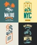 Vintage New York bikers club vector t-shirt logo  set. Royalty Free Stock Photography