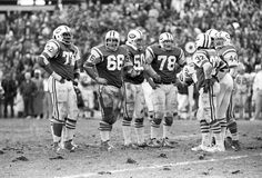 Vintage New York Jets Offensive line. Stock Images