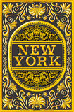 Vintage New York Label Plaque, Black and Gold Stock Photo