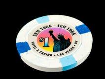 Vintage New York New York Casino $1 Poker Chip. On a black backdrop Royalty Free Stock Photos