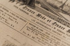 Vintage newspaper  France Royalty Free Stock Photography