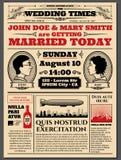 Vintage newspaper front page, wedding invitation vector layout vector illustration
