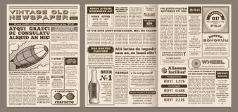 Vintage newspaper template. Retro newspapers page, old news headline and journal pages grid vector illustration layout. Vintage newspaper template. Retro stock illustration