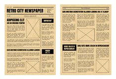 Vintage Newspaper Template Sheets Set. Vector. Vintage Daily Newspaper Template Sheets Set Old Style Design Include of Text, Column, Article and Advertising Stock Images