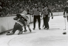 Vintage NHL Fight royalty free stock image