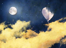 Vintage night sky background Balloon. Romantic and mysterious. Royalty Free Stock Photography