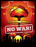 Vintage ningún cartel del vector de la guerra con la explosión de la bomba atómica y de la seta nuclear Fondo del armageddon del  stock de ilustración