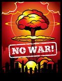 Vintage no war vector poster with explosion of atomic bomb and nuclear mushroom. World armageddon background. With mushroom bomb nuclear illustration Royalty Free Stock Photos