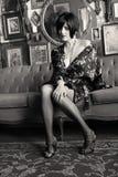 Vintage Noir Pinup Beauty Stock Photo