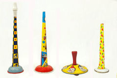 Vintage Noismakers. A group of old circus souvenirs Stock Image