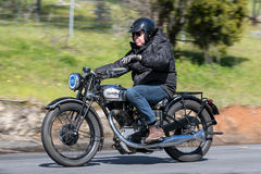 Vintage Norton Motorcycle on country road. Adelaide, Australia - September 25, 2016: Vintage Norton Motorcycle on country roads near the town of Birdwood, South Stock Images