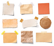 Vintage note paper. Collection of various vintage note papers on white background. each one is shot separately royalty free stock photos