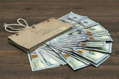 Vintage Notebook With Dollar Cash On Wood Background Royalty Free Stock Photography