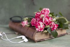 Vintage notebook mock up for artwork with pink roses. Place for text. Fresh flowers ans white headphones. Vintage notebook mock up for artwork with pink roses stock photos