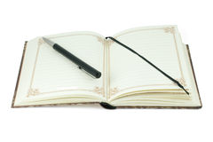 Vintage notebook and pen black Stock Images