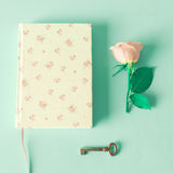Vintage notebook and rose Royalty Free Stock Image