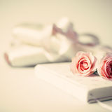 Vintage notebook and roses Stock Photo