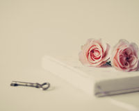 Vintage notebook and roses Stock Image