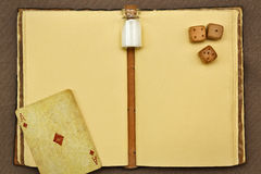 Free Vintage Notepad, Jar With Something White, Playing Card And Dice Stock Photography - 86114582