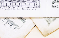 Vintage notes with space for text horizontal. Positioning of the image treble clef and bass clef stock photography